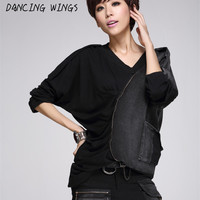 DANCING WINGS All matched black batwing long sleeve irregular tshirt woman loose