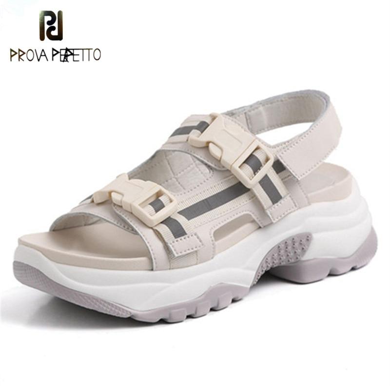 Prova Perfetto 2019 Genuine Leather Casual Summer Sandals Mesh Flat Platform Sandals Comfortable Ladies Walk Shoes