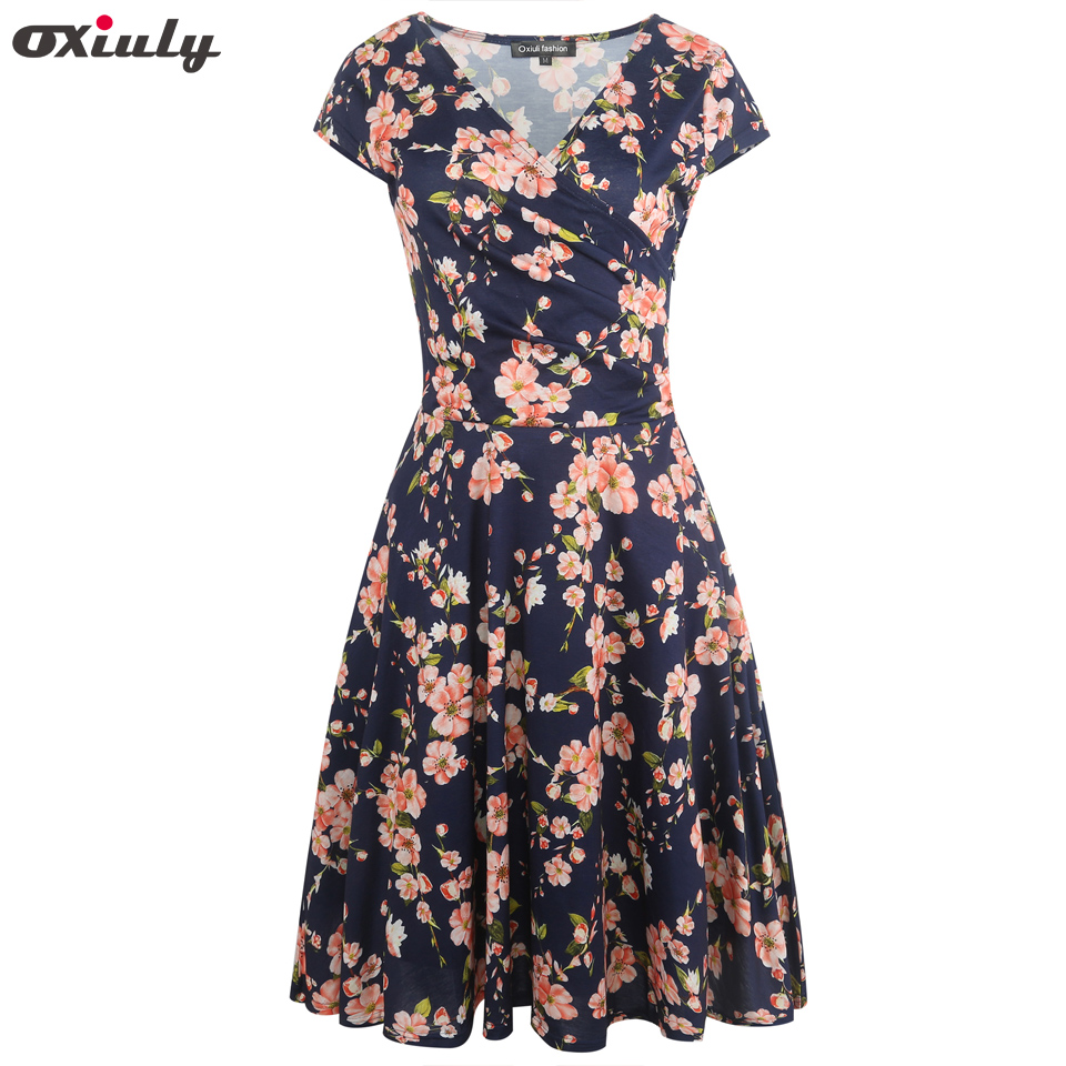 Oxiuly Womens Dark Blue Floral Print Dress Summer Sexy V Neck Short Sleeve Party Female Vintage A Line Dresses Vestido Femininos in Dresses from Women 39 s Clothing