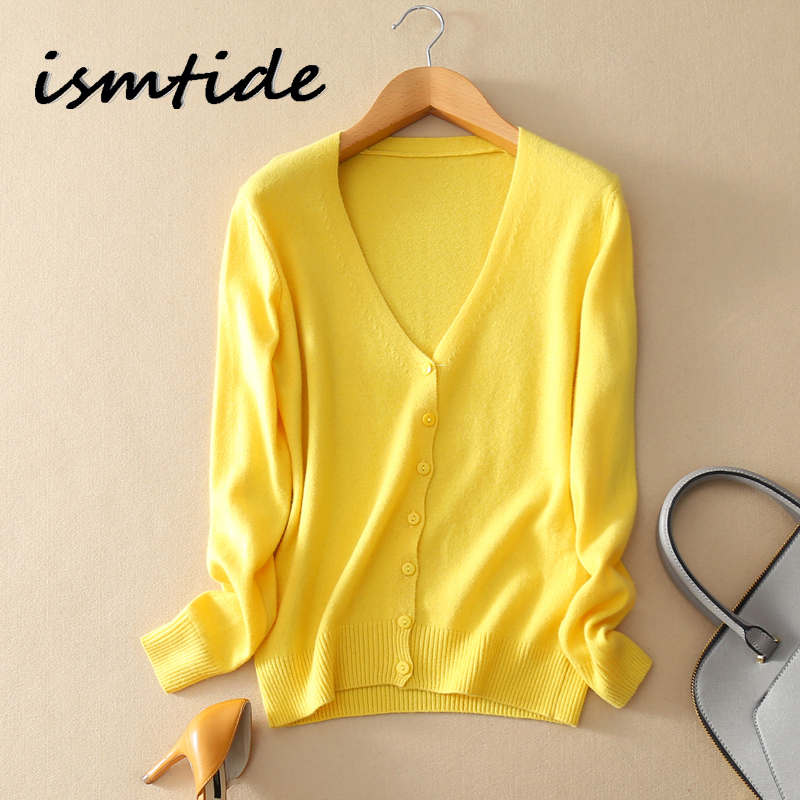 Cardigan Cashmere V Neck Sweaters Knitted Cashmere Cardigan Women Coat Sweater Blouse Solid Elastic Slim Female