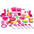 46 unids venta caliente tabla de cortar de cocina kit toys kid toys 2 color elegir de plástico de cocina de utensilios de cocina de juguete educativo temprano
