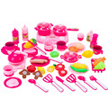 46pcs Hot Sale Cutting Kitchen Toys 2 Color Choose Plastic Cooking Kit Toys Kid's Early Educational Cookware Toy