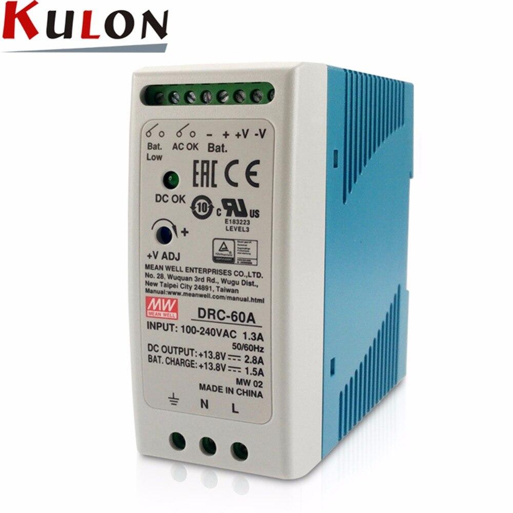 Оригинал MEAN WELL DRC-60A 60 Вт 13,8 В в 2.8A 1.5A AC/DC MEANWELL DIN-рейка безопасности питание с батарея зарядное устройство (UPS)