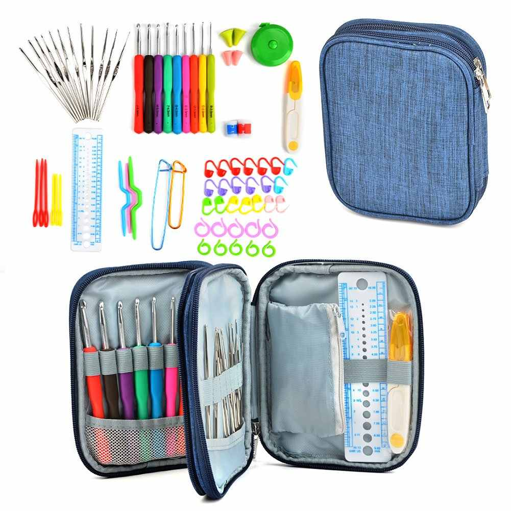 72Pcs Ergonomic Crochet Kit, Painless Soft Grip Crochet Hooks 2-6mm, Aluminum Knitting Needle 0.6-1.9mm,Zipper Case for Beginner