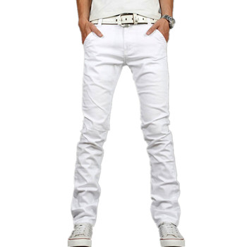 4b9e20594689a Moda erkek jeans düz Slim Fit Denim kot pantolon Casual esneklik denim  pantolon beyaz Homme artı boyutu 28- 40