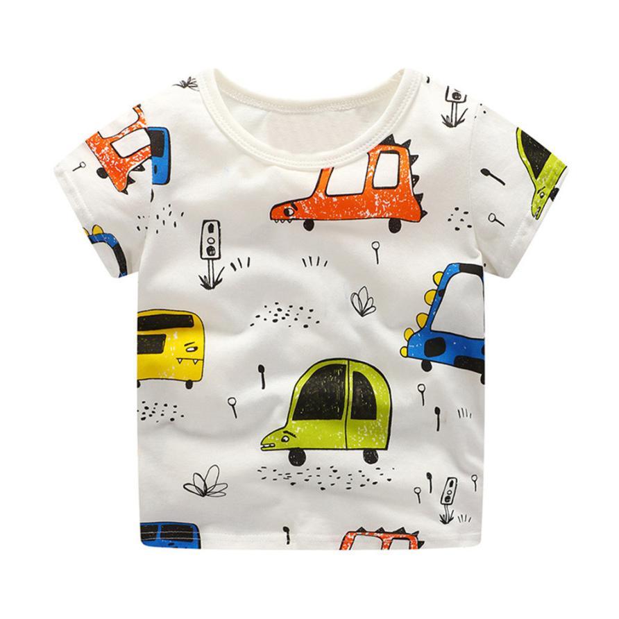 BMF TELOUTNY Fashion Children T-shirt Toddler Kids Baby Boys Clothes Short Sleeve Cartoon Car Pattern Tops T-Shirt Blouse Jun20