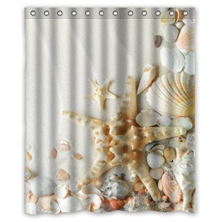 Christmas Decorations For Home Seashells And Starfish 160x180cm Fabric Bathroom Accessories Shower Curtain