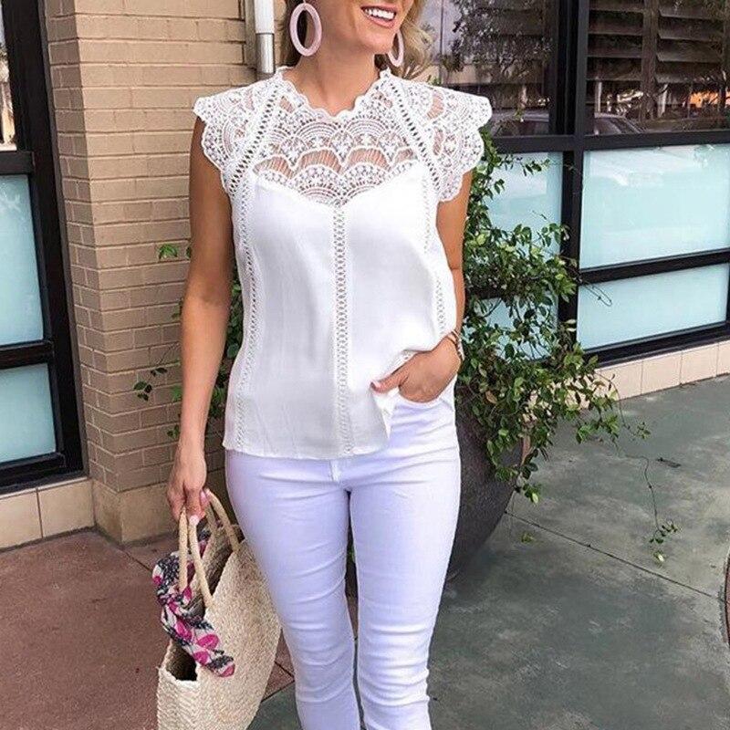 Verão rendas retalhos das mulheres topos e blusas 2019 sexy sem mangas camisa sólida blusa chiffon feminina
