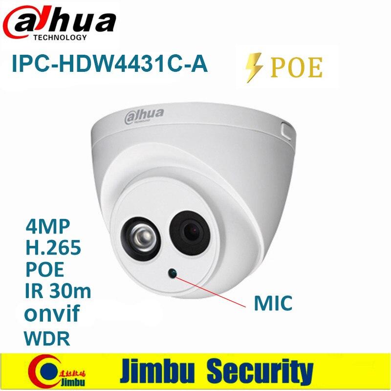 Dahua 4MP IP Camera IPC HDW4431C A PoE Built in Mic IR30m IP67 Network CCTV Camera