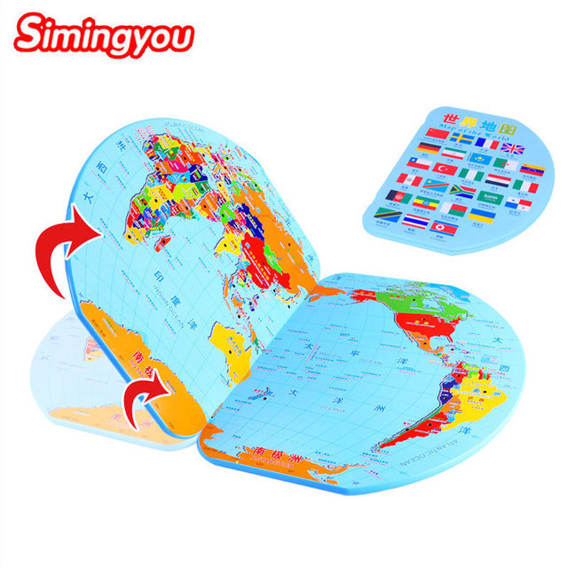 Simingyou 3D Wooden World Map Toy National Flag Stereo Educational Toys Learning Puzzle Jigsaw For Kids C20 Drop Shipping