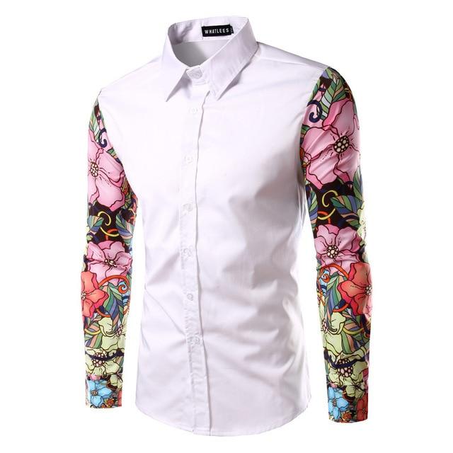 Мужчины Печати Рубашка Мода Дизайн Рисунок Длинный Цветы Рукава Slim Fit человек Случайные Рубашки Моды для Мужчин Рубашки