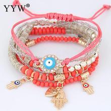 2019 Hamsa Hand Blue Evil Eye Heart Charm Bracelets & Bangles Multilayer Beads Turkish Pulseras For Women