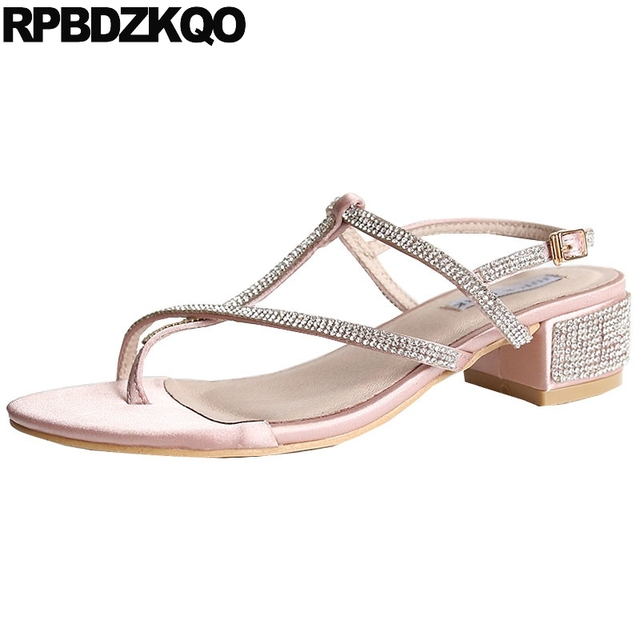 6fd6a869bde833 Toe Ring Shoes Wedding Chunky Thong Square T Strap Designer Sandals Women  Luxury 2017 Bling Pink