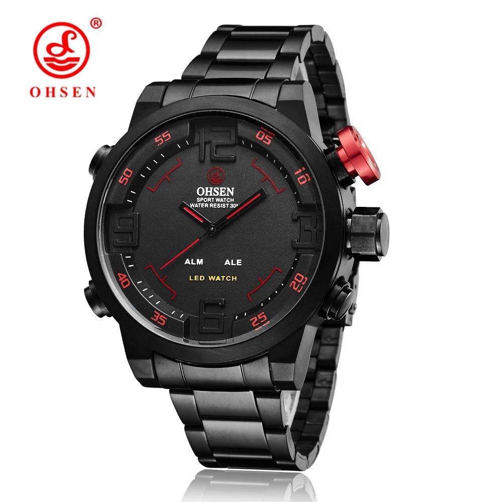Top marca OHSEN Full Steel Band Analog LED Ceas Digital Ceas - Ceasuri bărbați