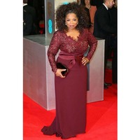 Burgundy Long Sleeves Mother Of The Bride Dresses Plus Size Evening Dress Lace Sheath Celebrity Red Carpet Gown