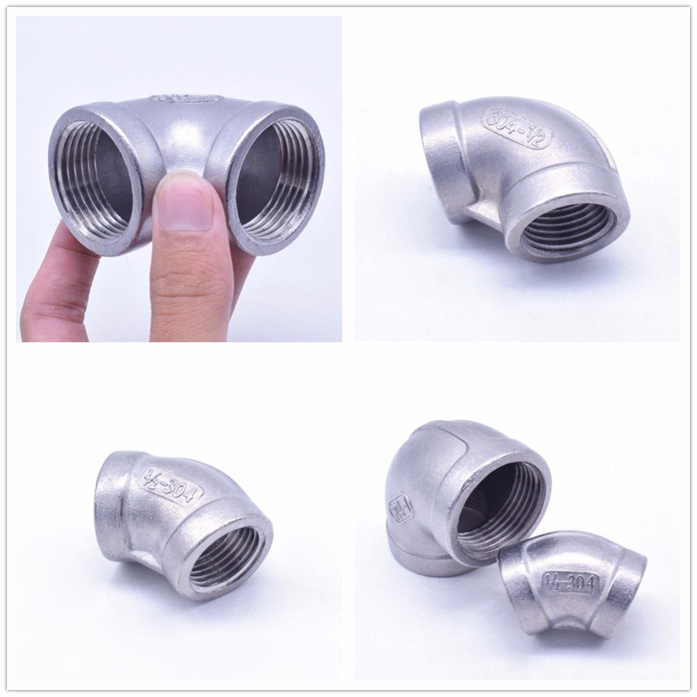 1PCS 304 Stainless steel Hose Connector Pipe fittings 45 Degree/90 Degree Female DN50/65/80/100 high quality1 4 female x 1 4 female elbow 90 degree angled stainless steel ss 304 threaded pipe fittings