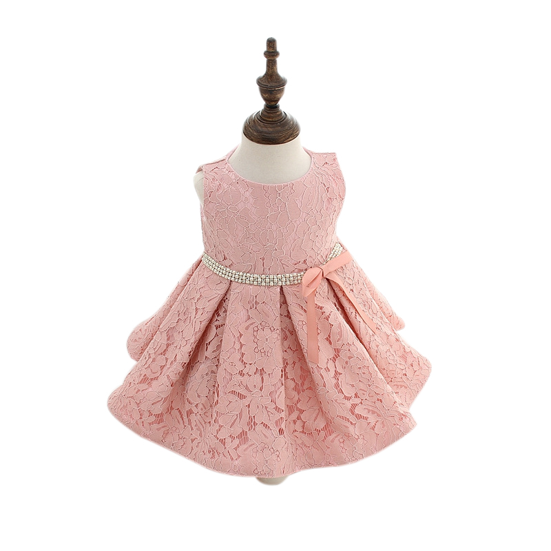 Elegant Girl Dress Girls 2016 Summer Fashion Pink Lace Big Bow Party Tulle Flower Princess Wedding Dresses Baby Girl dress 0 24M