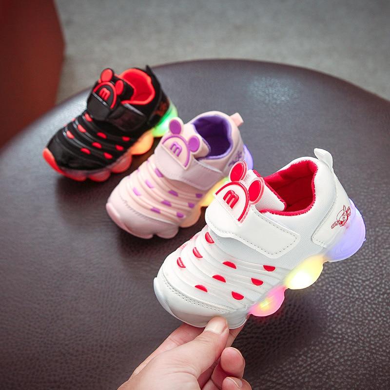 Nouveau avec LED bébé fille & garçons baskets mode respirant enfant en bas âge Caterpillar chaussures sport fond souple pour Babys Eur taille 21-30