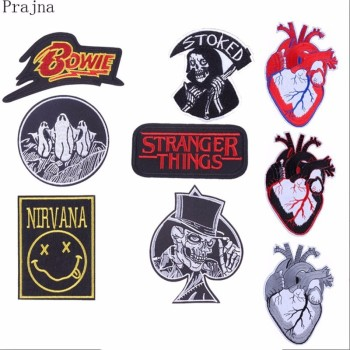 Prajna Stranger Things Nirvana Bowie Patch Iron On Embroidered Patches For Clothes Applique Sewing Viking Patch Applique Sticker image