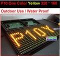 Monocromático p10 uma cor amarelo ao ar livre levou módulo, 320 * 160 32 * 16 hub12, À prova de água, 10 mm cor amarelo ao ar livre painel de led
