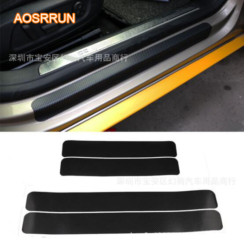 AOSRRUN Carbon fiber sticker car threshold bar welcome pedal Car accessories for Nissan Patrol y62 X-trail Qashqai Versa livina