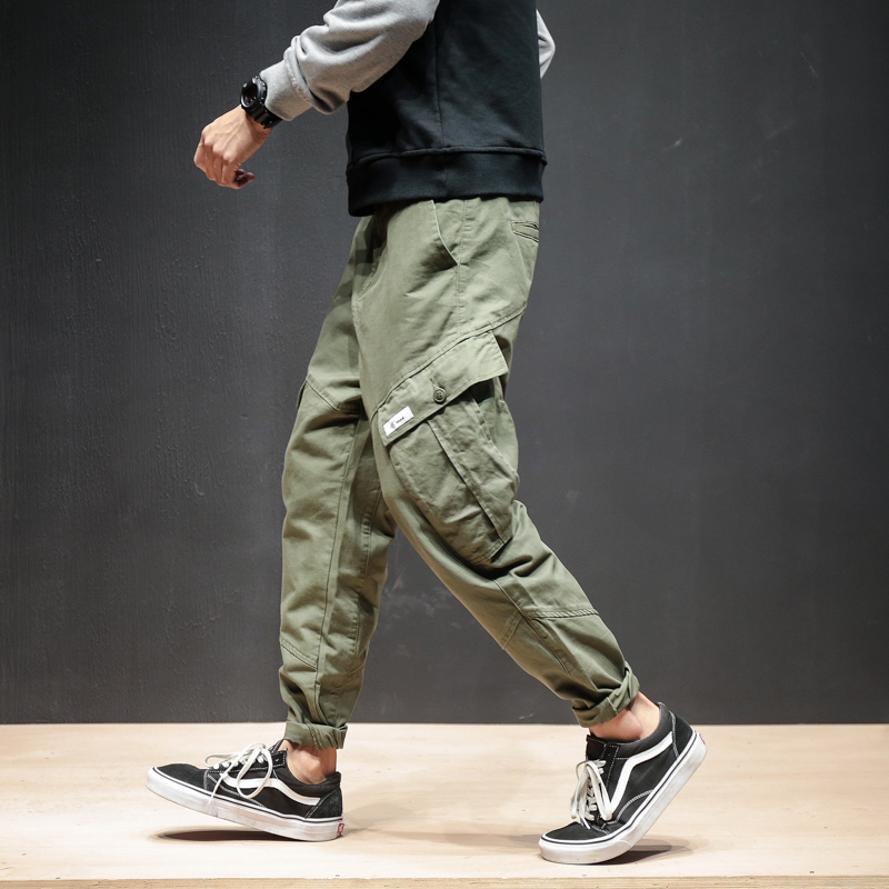 Autumn Winter Men Pants Hip Hop Harem Jogger Thicken Male Trousers Mens Joggers Solid Multi-pocket Cargo Pants Sweatpants 5XL