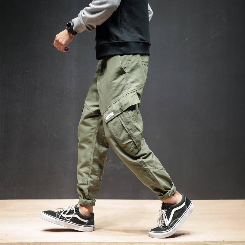 Autumn Winter Men Pants Hip Hop Harem Jogger Thicken Male Trousers Mens Joggers Solid Multi-pocket Cargo Pants Sweatpants 5XL