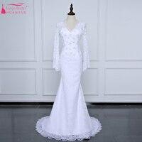 Trắng dài tay áo charming Wedding Dresses Bohemian Sexy V-Cổ Backless Lace Bridal Gowns Bãi Biển giá rẻ Váy Làm Cỏ Z967