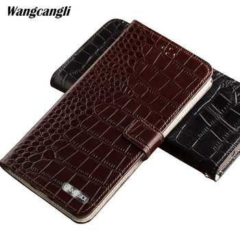 Business Clamshell buckle phone case for Sony Xperia a1 Handmade Crocodile pattern  Genuine Leather Phone protection Case