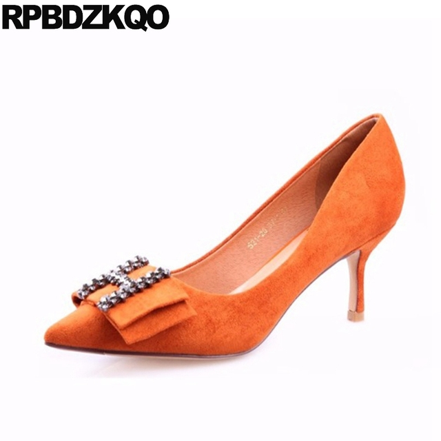 Orange Pumps Shoes New Suede Scarpin 3 Inch Size 4 34 Pointed Toe Diamond  Autumn High Heels Chic Ladies Rhinestone Sexy Fashion bfe503a2004d