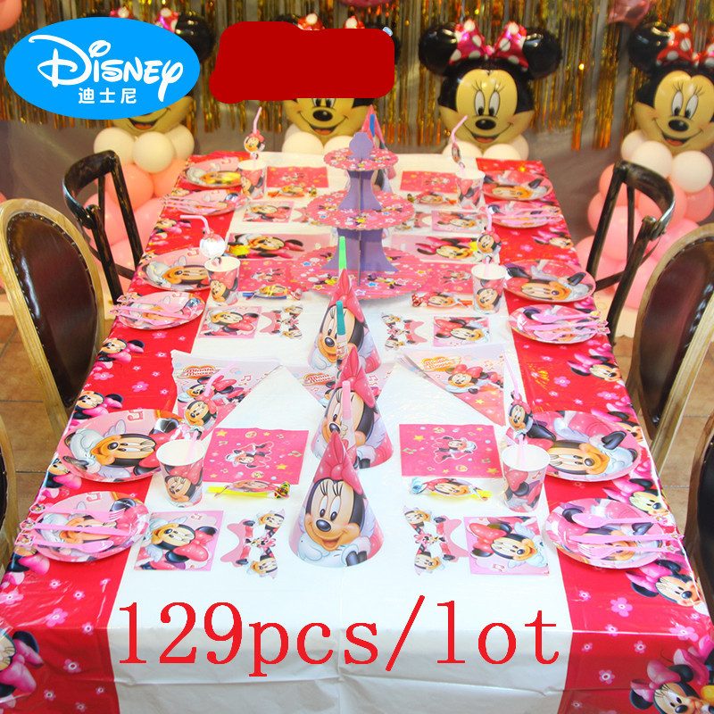 129Pcs Minnie Mouse Cartoon Theme Paper Cup Plate Straw Wedding Festival Gift Bag Kid Birthday Party