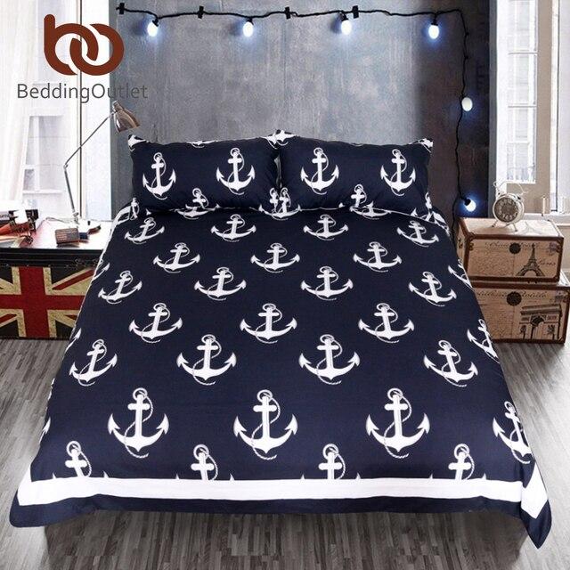 Us 465 Beddingoutlet Anker Bettwäsche Set Queen Size Für Kinder Jungen Bettwäsche Dunkelblau Und Weiß Bettbezug Set Einfache Bettdecke In