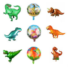 10pcs/lot Dinosaurs Action Figure Foil Balloons Jurassic World Dinosaur Tyrannosaurus Rex Models Inflatable Toys for Children(China)