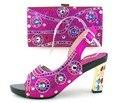 Новое прибытие Итальянский дизайн обуви и сумки сборки для партии/свадьба, фуксия Африканские женская обувь и сумки набор! MOH1-18