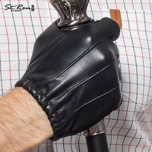 Fashion Men Leather Gloves Wrist Solid Black Genuine Sheepskin Glove Five Finger Thermal Winter Driving Free Shipping St6009