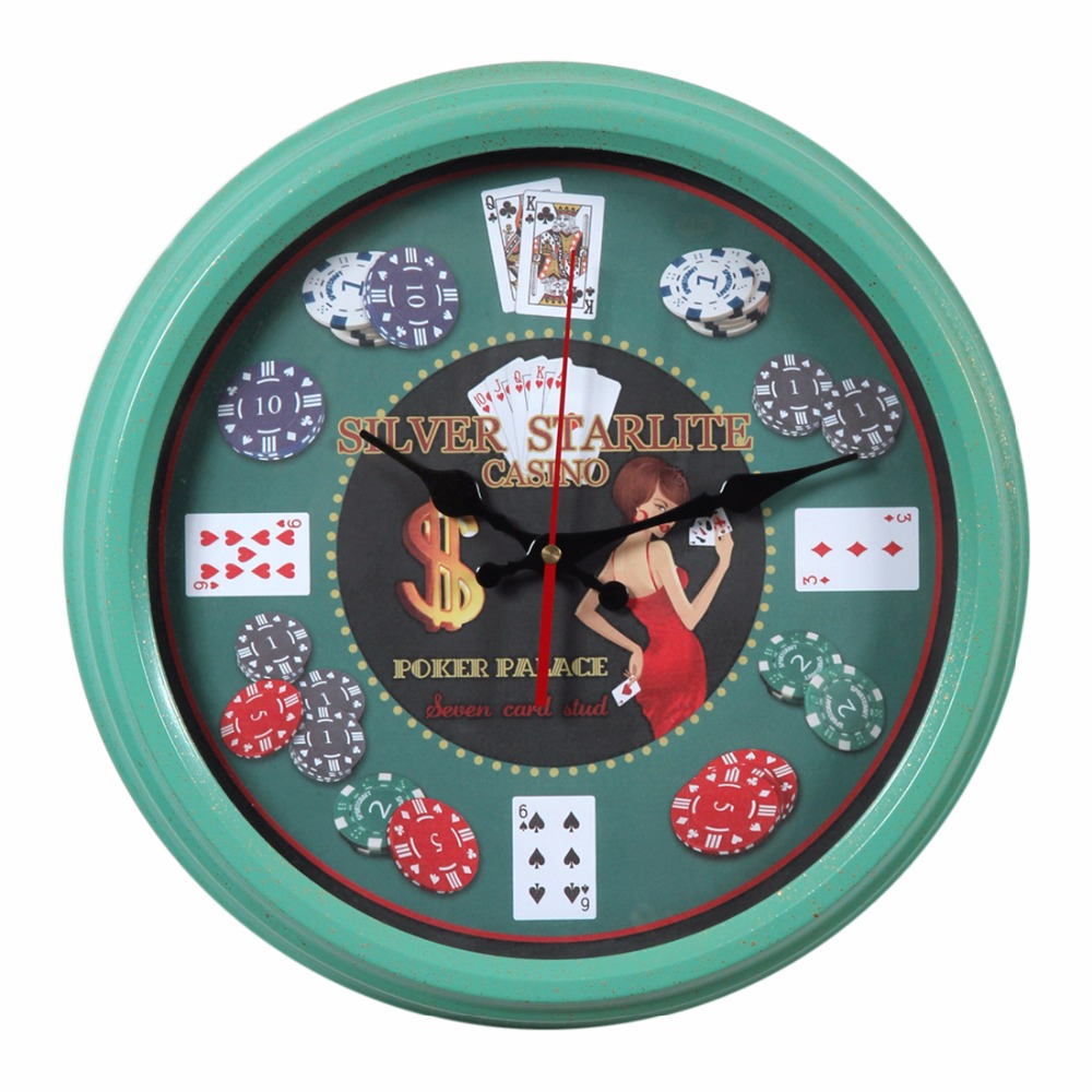 Hot 35CM Creative European Circular Wall Clock Household Poker Pattern Iron Hanging Clock Wall Home Household Decor Mint Green