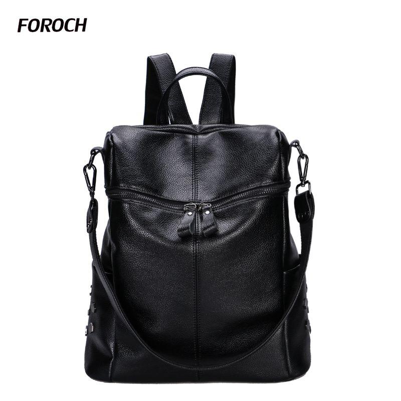 FOROCH Backpack for Teenage Girl Backpacks Bolsa Mochila Feminina Escolar Casual Genuine Leather Waterproof Women Bagpack 183