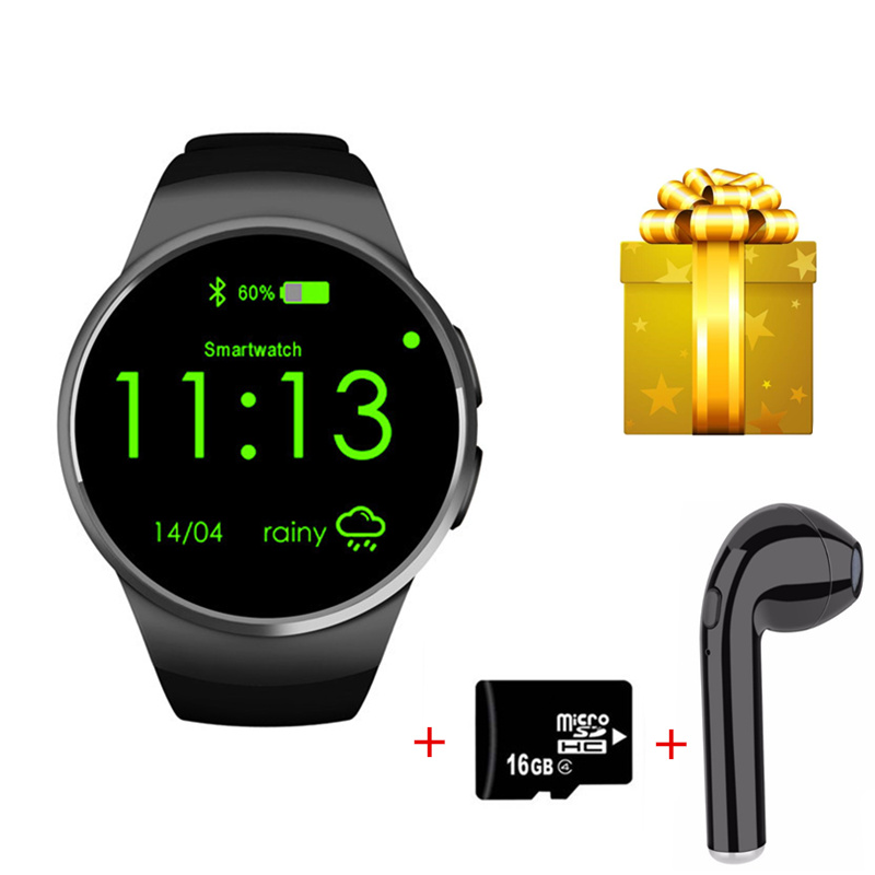 Smartwatch+earphone +16GB card smart watch men android wear support Sim TF card montre connecte for ios iphone with heart rate