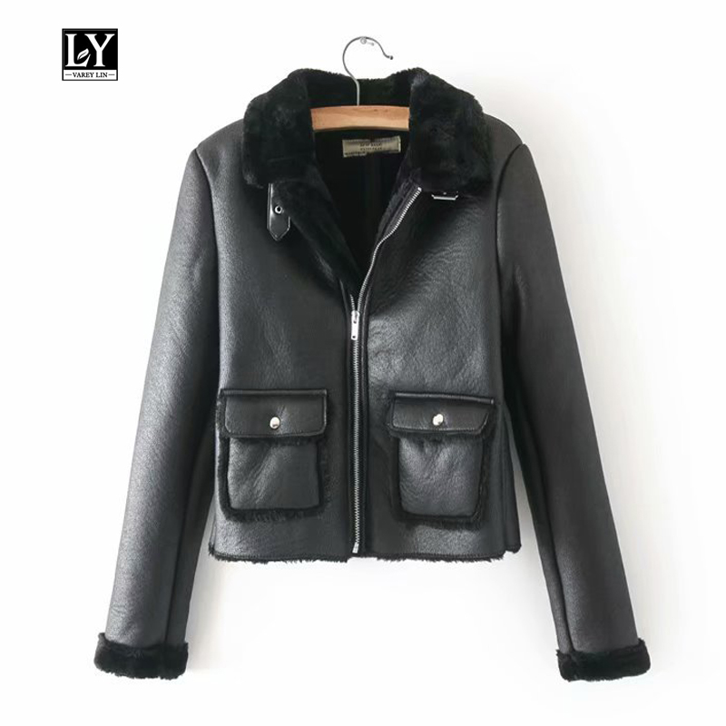Ly Varey Lin Winter Women Faux Soft   Leather   Lambs Wool Fur Collar   Suede   Jacket Short Coat Female Black Moto Punk Bomber Overcoat