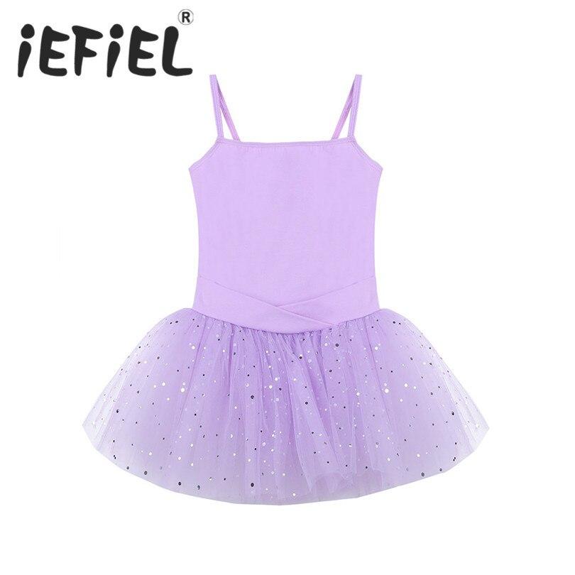 iEFiEL Kids Girls Bow Glitter Tulle Ballet Dance Gymnastics Leotard Tutu Dress for Ballet Dancing Girls Class Stage Performance