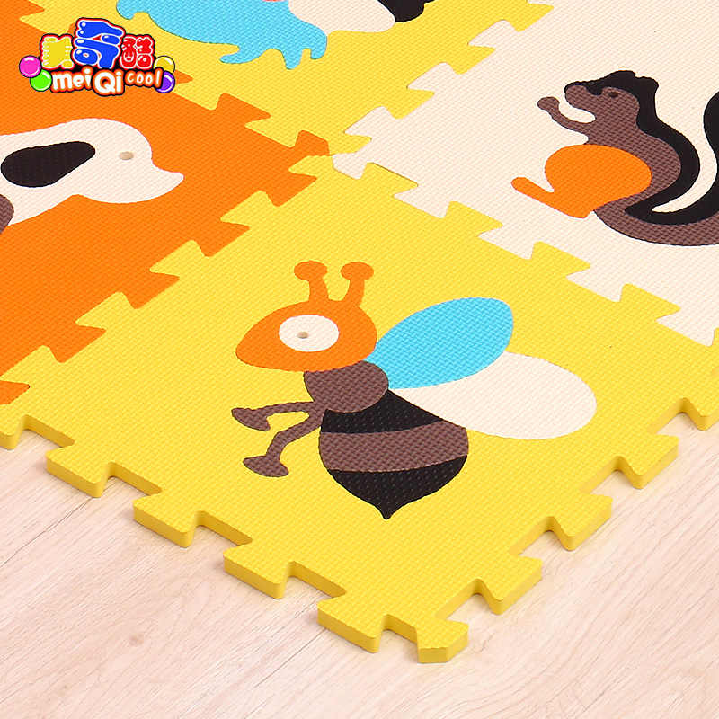 Mei qi cool 9 шт. детский коврик-пазл из пены с животным узором, детский коврик из материала EVA, детский игровой коврик для помещений, мягкий коврик-пазл для занятий в тренажерном зале