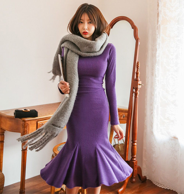 551e76847595 New Arrivals Women Sweater Dresses Warm Long Sleeve Purple Cable Knitted  Bodycon Midi Fishtail Mermaid Dress Girl Winter Clothes