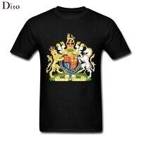Royal Coat Of Arms Of The United Kingdom T Shirt Men Male Harajuku Custom Short Sleeve
