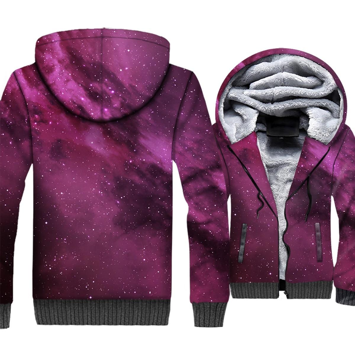 Space Galaxy 3D Hoodies Men Colorful Nebula Cap Sweatshirt Harajuku Stars Nebula Coat Winter Fleece Dreamlike Star Purple Jacket