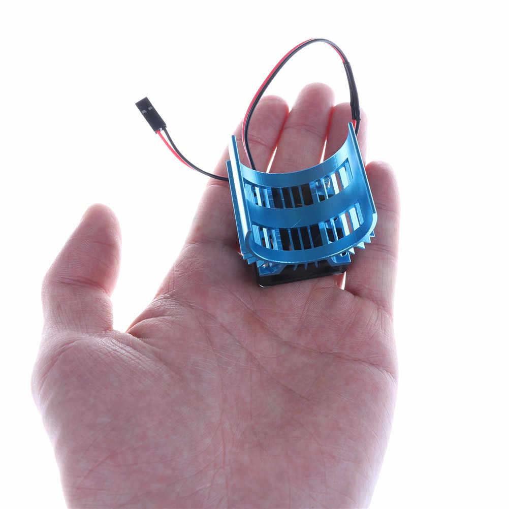Venta caliente piezas RC azul Motor eléctrico disipador de calor cubierta + ventilador de refrigeración para 1:10 HSP RC coche 540 550 tamaño 3650 Motor disipador de calor