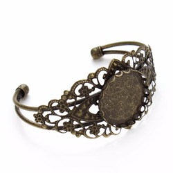 LOULRUR 25mm Antique Bronze Brass Flower Bracelet Bangle Blank Trays Bezel Cabochon Cameo Bracelet Blank Jewelry Making Finding
