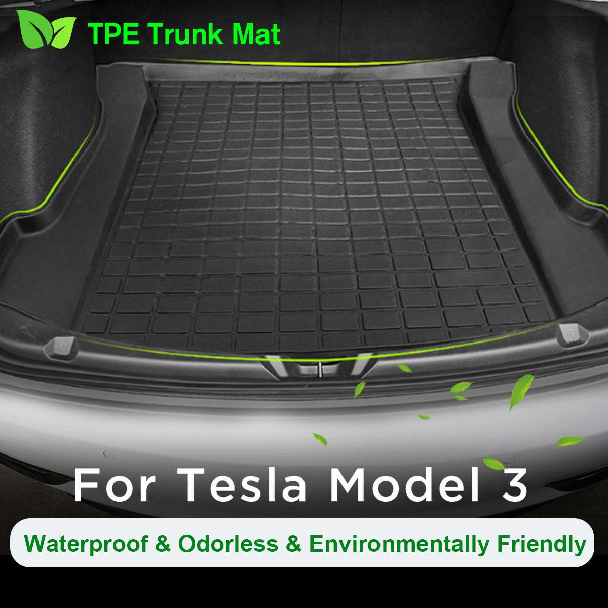 NEW Floor Mats TPE Rear Trunk Floor Mat Black Thermoplastic Elastomer Cargo Liner Rear Tray Mat for Tesla Model 3