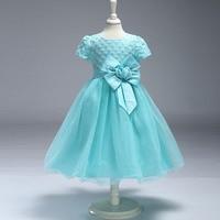 Europese en Amerikaanse kinderkleding bloemen boog kinderen 's bruiloft prinses jurk bloem giel's jurk