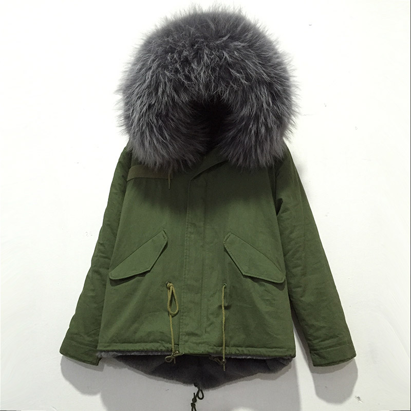 New Style Women and Men Italy Brand Top Quality Mr furs coat sale Gray Fur Collar Fabric Trench