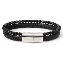 Multilayer Bracelet Men Casual Fashion Braided Leather Bracelets For Women Bead Punk Rock Jewelry